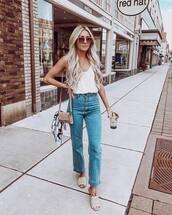 jeans,high waisted jeans,slide shoes,white top,tank top,v neck,shoulder bag
