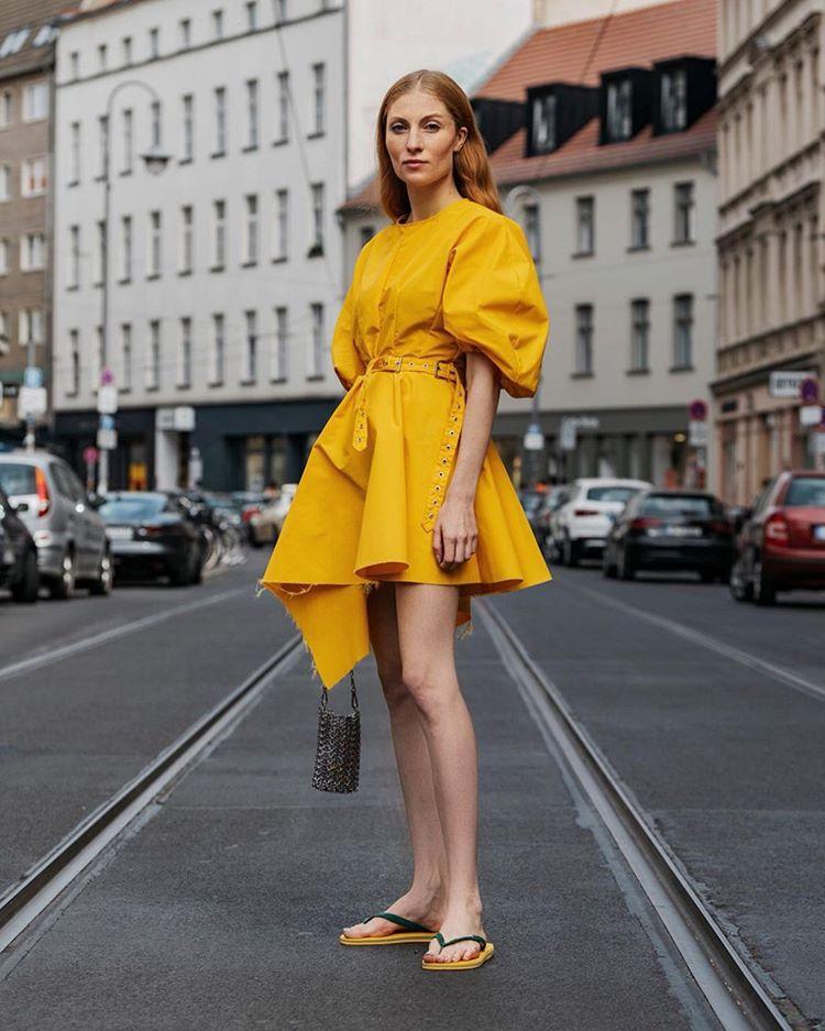 dress mini dress yellow dress short sleeve dress slide shoes bucket bag