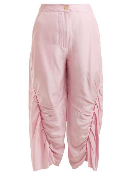 By Walid - Meril Pleated Raw Silk Cropped Trousers - Womens - Pink