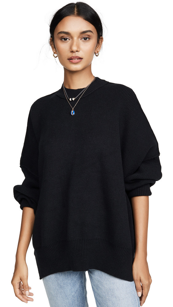 Free People Easy Street Tunic Sweater in black