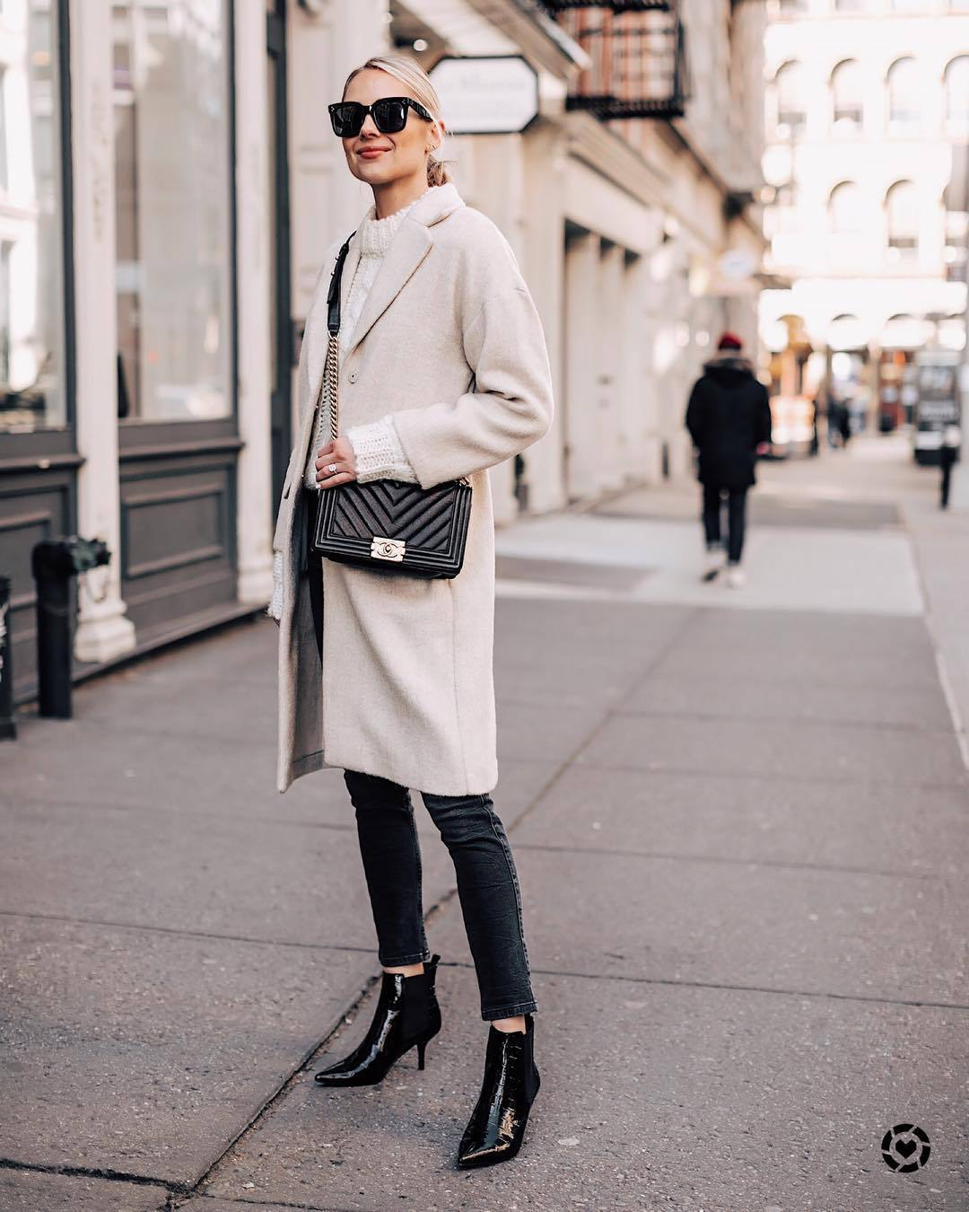 shoes ankle boots black boots patent boots black skinny jeans grey coat black bag white sweater