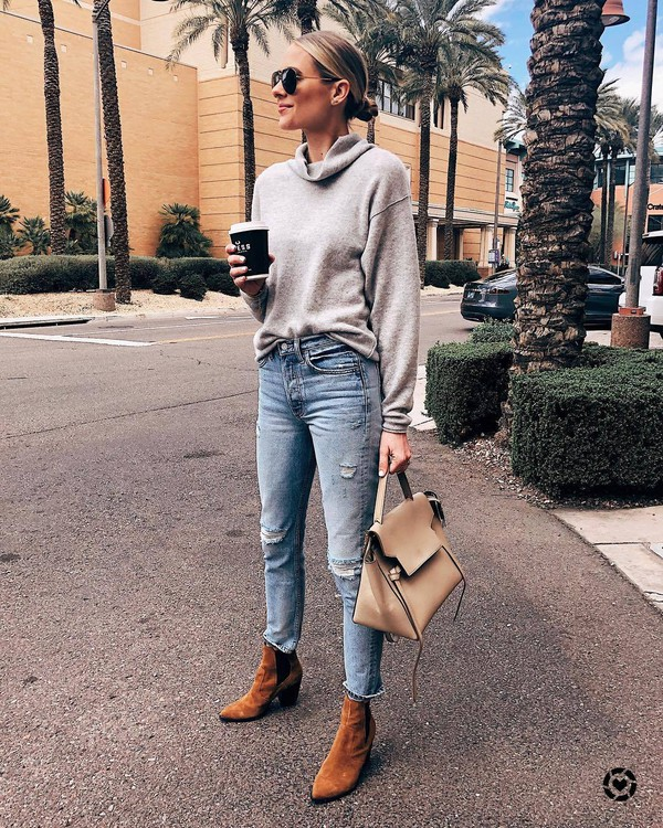 sweater turtleneck sweater grey sweater brown boots ankle boots skinny jeans shoulder bag