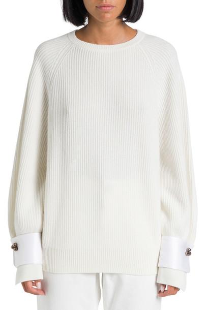 Brunello Cucinelli Sweater With Detachable Cuffs in bianco