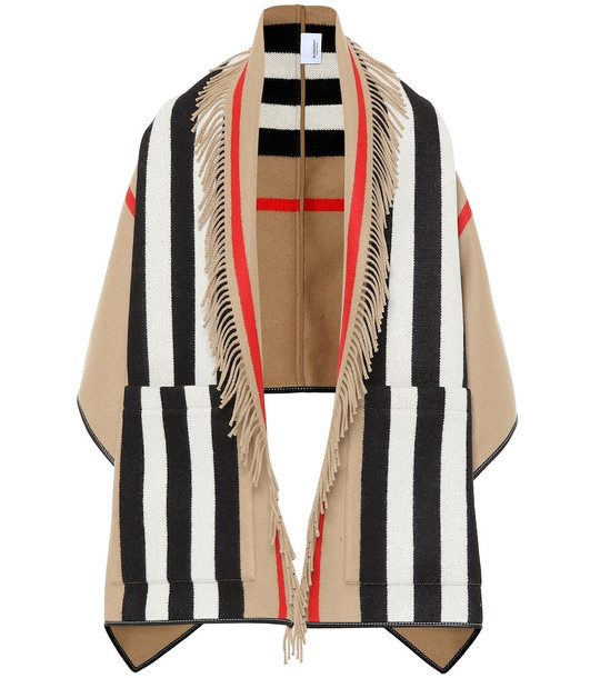 Burberry Icon Stripe wool and cashmere cape in beige