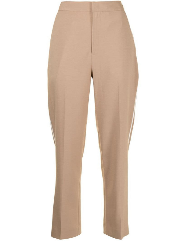 PortsPURE cropped straight-leg trousers in brown