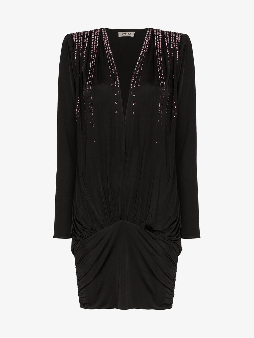 Attico V-neck crystal embellished mini dress in black