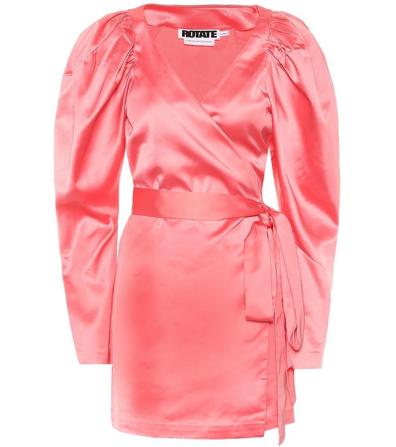 ROTATE BIRGER CHRISTENSEN Puff-sleeve satin minidress in pink