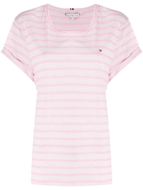Tommy Hilfiger embroidered logo striped T-shirt in pink