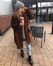 coat,faux fur coat,long coat,patent shoes,jeans,oversized sweater,crossbody bag,black bag,knit,hat
