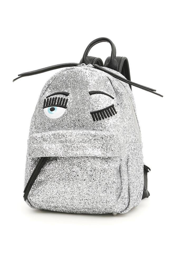 Chiara Ferragni Small Glitter Flirting Backpack in silver
