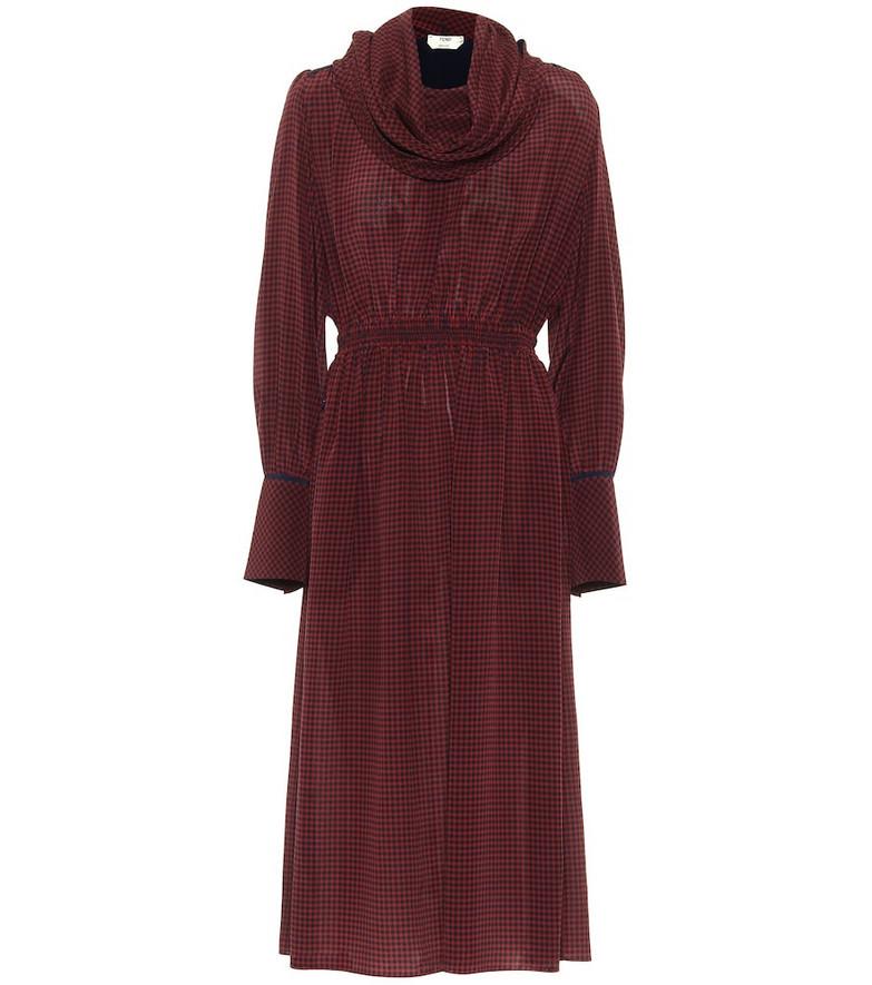 Fendi Checked silk maxi dress in red