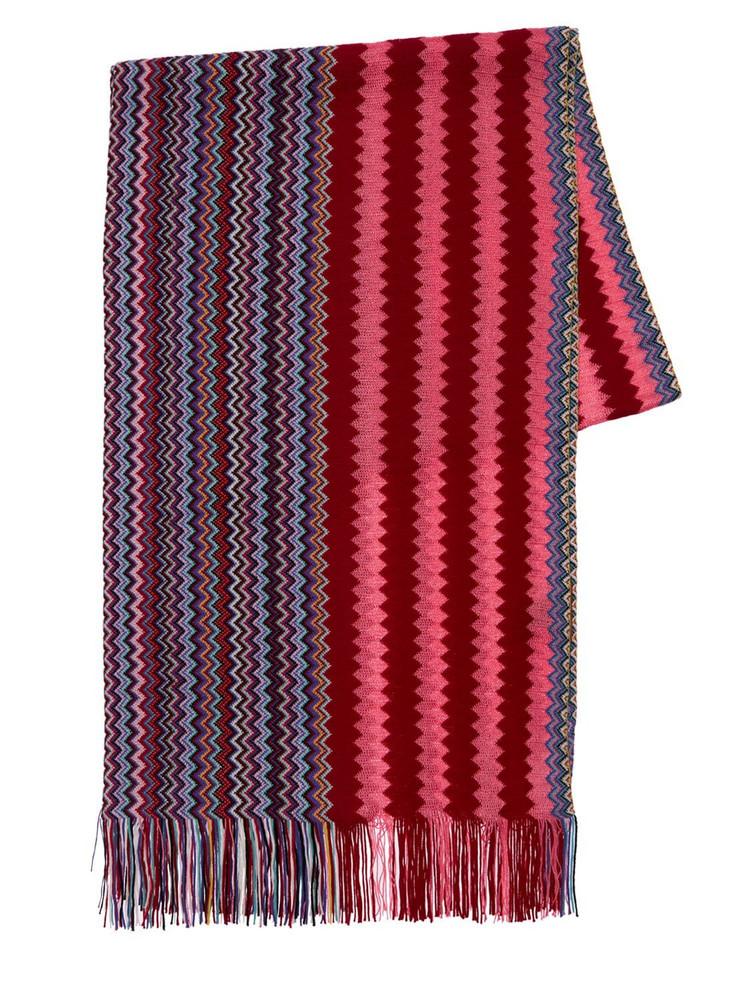 MISSONI Knit Zig Zag Wool & Viscose Scarf in purple