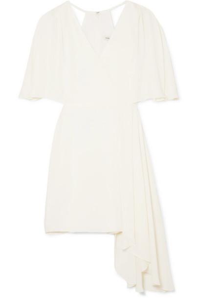 Halston - Cutout Draped Chiffon Mini Dress - White