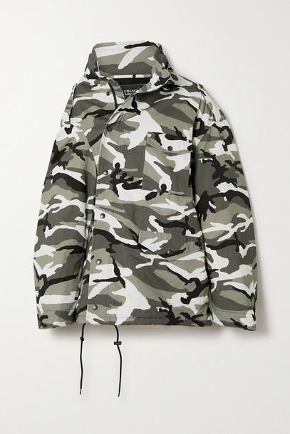 Balenciaga - Oversized Camouflage-print Cotton-twill Parka - Gray