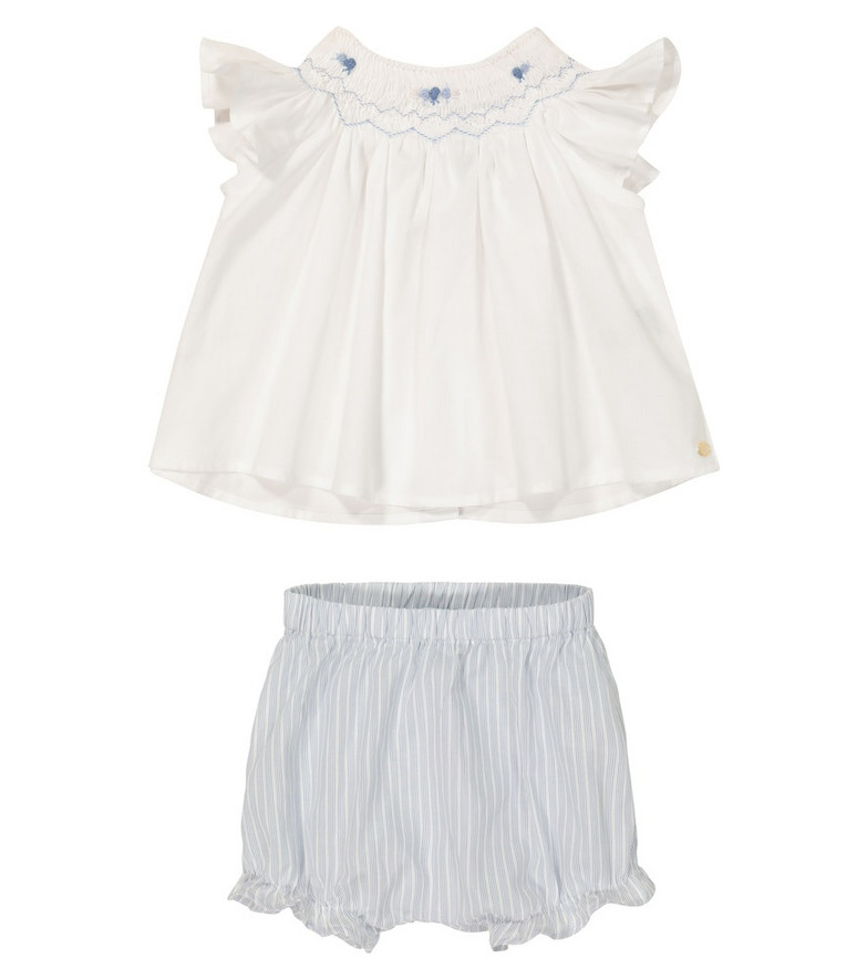 Tartine et Chocolat Baby cotton top and shorts set in white