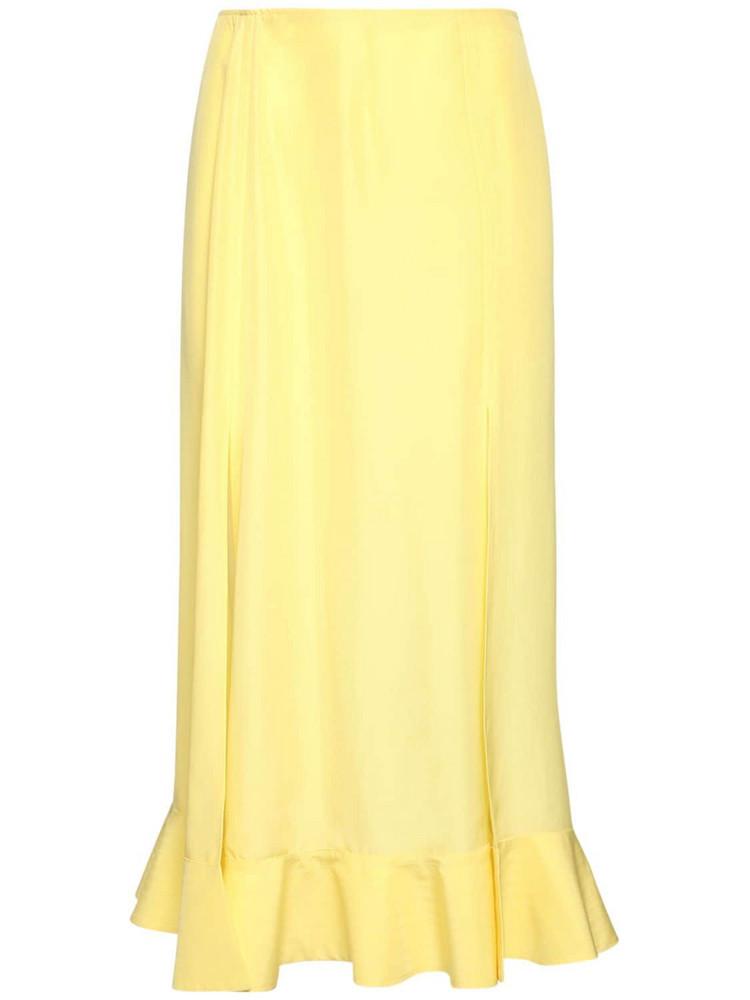ROCHAS Habutai Flared Silk Midi Skirt in yellow