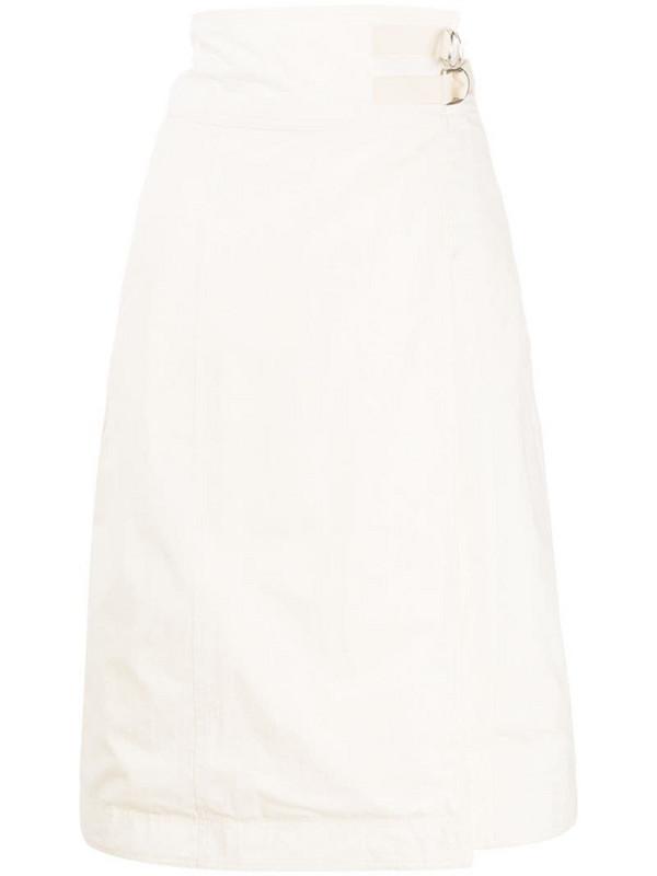 Jil Sander side buckle poplin skirt in white