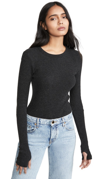 Enza Costa Thermal Crew Top in charcoal