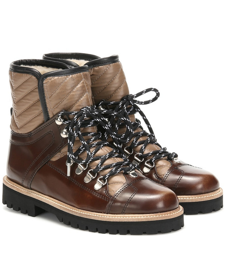 Ganni Winter Hiking leather ankle boots in red