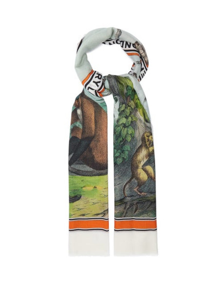 Burberry - Monkey-print Cashmere Scarf - Womens - Multi