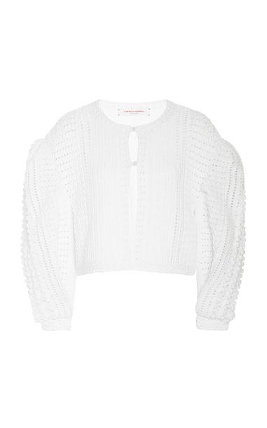 Carolina Herrera Hand Crochet Puff Sleeve Cardigan Size: XS in white