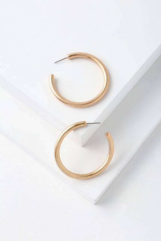Franc Brushed Gold Hoop Earrings