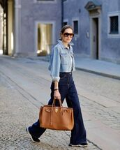 jacket,denim jacket,wide-leg pants,high waisted jeans,sneakers,brown bag,white t-shirt