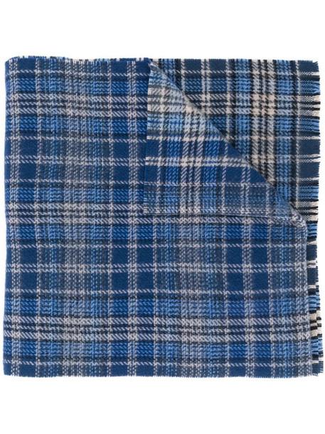 Acne Studios checked logo-print scarf in blue