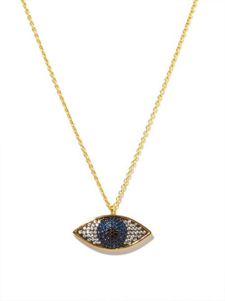 Begum Khan - Nazar Crystal & 24kt Gold-plated Necklace - Womens - Blue Multi