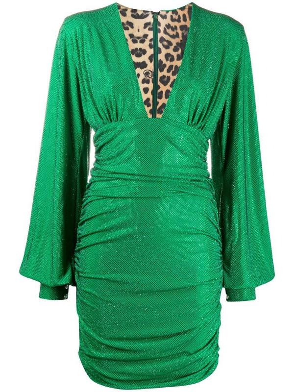 Philipp Plein embellished ruched mini dress in green