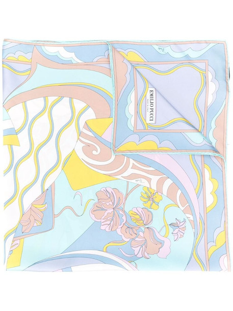 Emilio Pucci Hanami Print Silk Scarf in blue