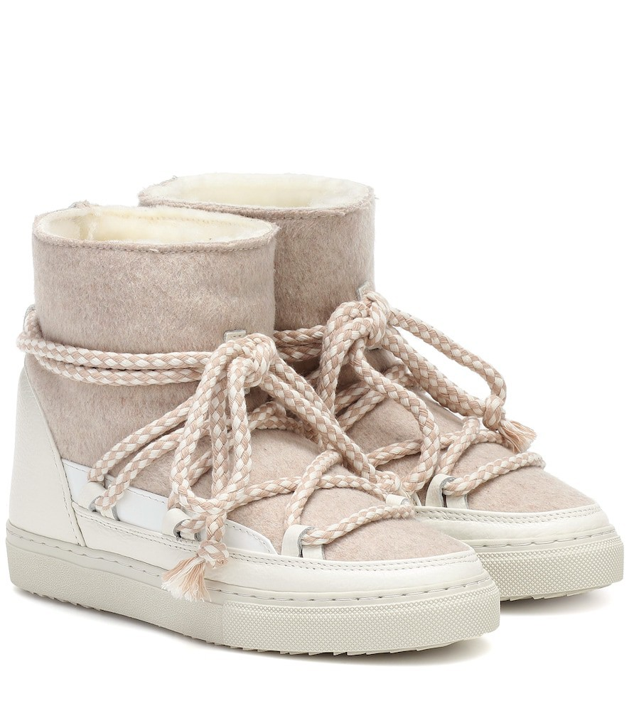 Inuikii Sneaker wool and leather boots in white