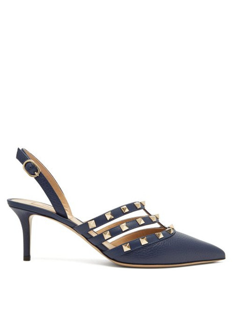 Valentino - Rockstud Slingback Leather Pumps - Womens - Navy