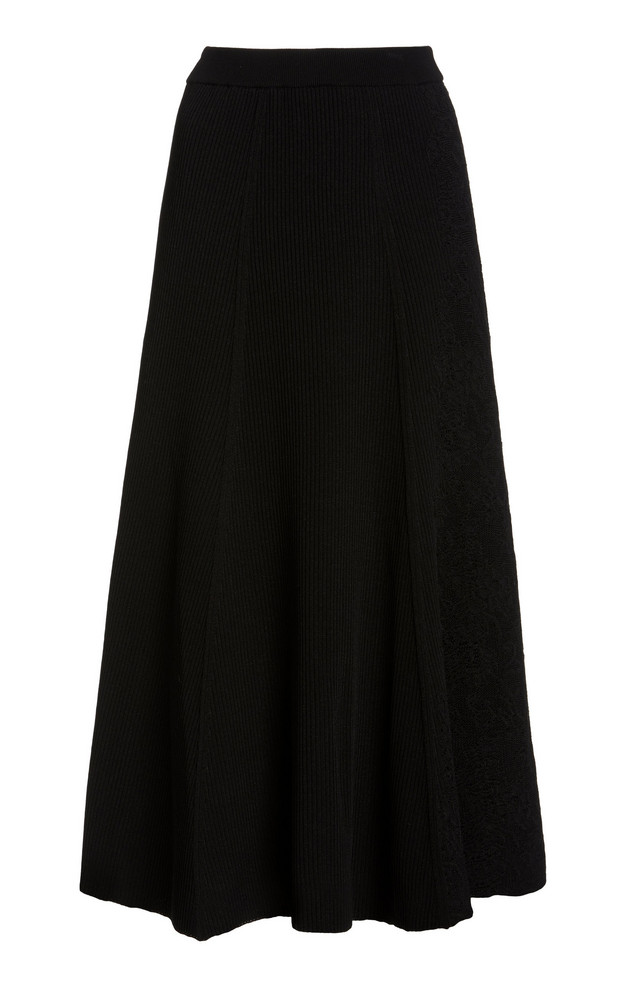 Givenchy Ribbed Knit Cotton-Blend Midi Skirt in black