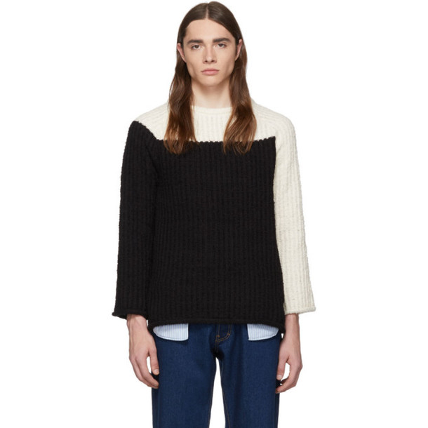 Eckhaus Latta Off-White & Black Referee Sweater