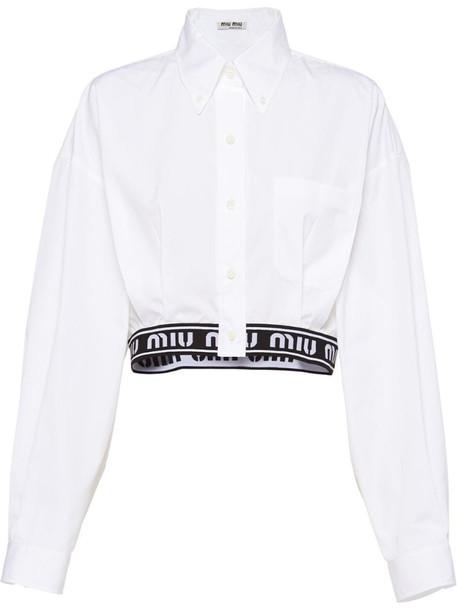Miu Miu logo hem cropped shirt in white