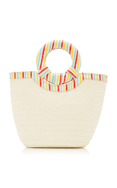 Adriana Castro Striped Snake-Effect Leather-Trimmed Straw Tote in multi