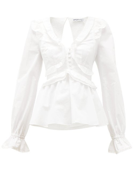 Self-portrait - Ruffled V-neck Tie-back Cotton Blouse - Womens - White