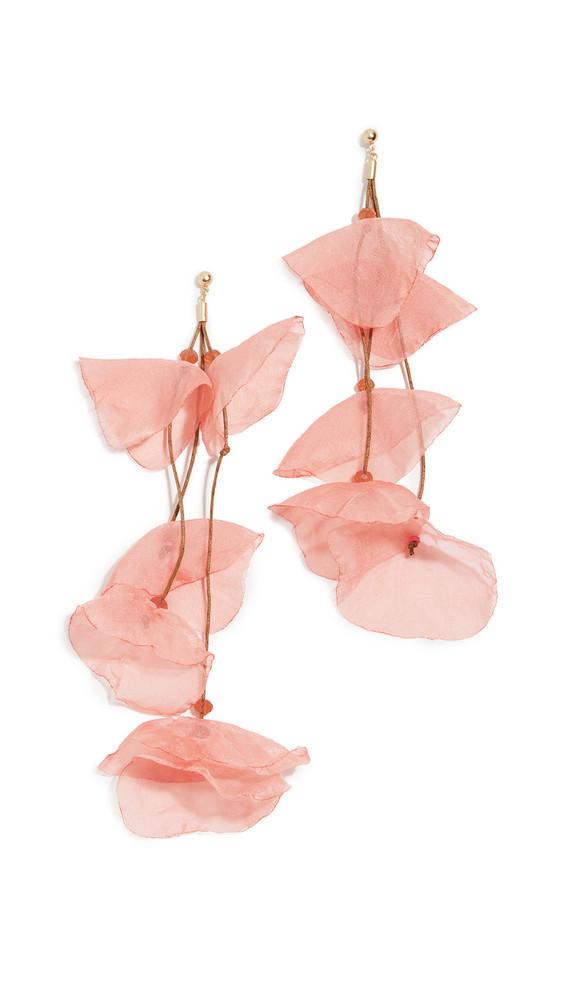 Stella + Ruby Stella + Ruby Long Chiffon Flower Earrings in coral