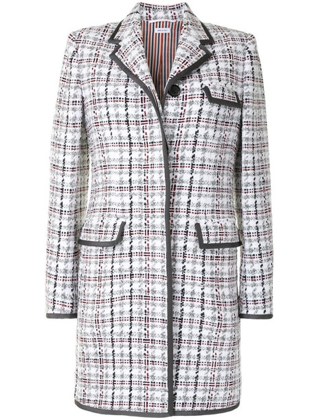 Thom Browne check-pattern mid-length coat in grey