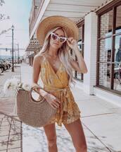 romper,floral,lace romper,mustard,sleeveless,handbag,felt hat,sunglasses
