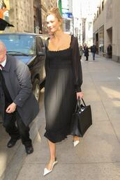 dress,karlie kloss,model off-duty,midi dress,celebrity,black dress
