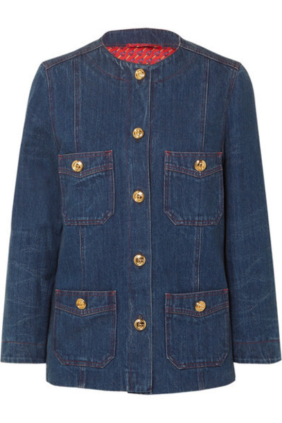 Gucci - Button-embellished Denim Jacket - Indigo