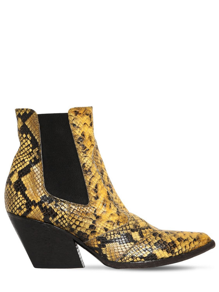 ELENA IACHI 60mm Snake Print Leather Cowboy Boots in yellow