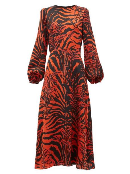 Borgo De Nor - Elista Panthera Print Silk Satin Midi Dress - Womens - Black Red