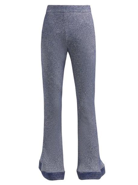 Chloé Chloé - Denim Effect Kick Flare Crepe Trousers - Womens - Blue Multi