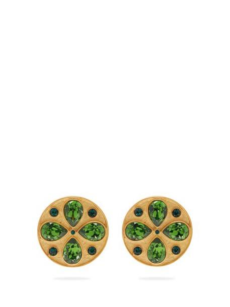 Rebecca De Ravenel - Pamina Swarovski Crystal Clip Earrings - Womens - Green