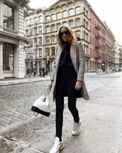 coat,grey coat,zara,plaid,white sneakers,socks,black skinny jeans,cropped jeans,white bag,black hoodie