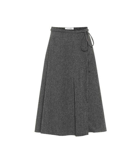 Valentino Wool crêpe midi skirt in grey