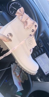 shoes,pink,timberlands,bow,silk